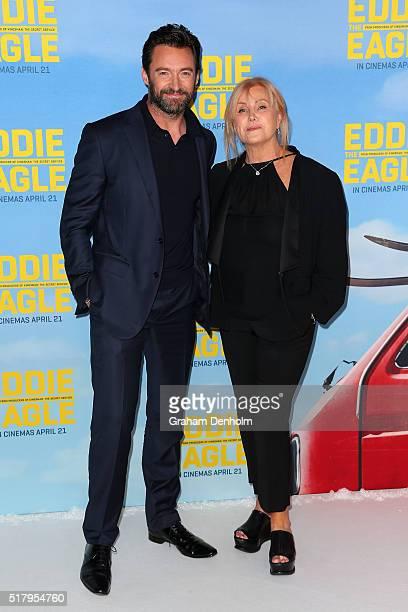 Hugh Jackman and wife DeborraLee Furness arrive ahead of the Eddie The Eagle screening at Village Cinemas Crown on March 29 2016 in Melbourne...