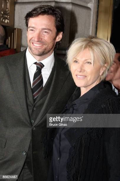 """Hugh Jackman and wife Deborra-Lee Furness attend the Broadway opening night of """"Exit The King"""" at the Ethel Barrymore Theatre on March 26, 2009 in..."""