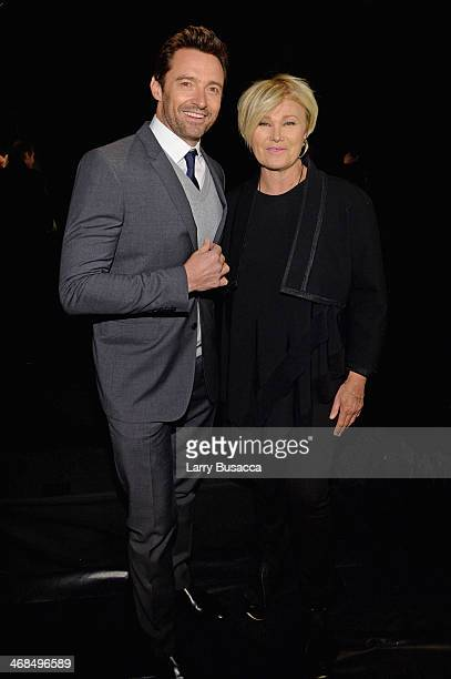 Hugh Jackman and wife DeborraLee Furness attend the Donna Karan New York 30th Anniversary fashion show during MercedesBenz Fashion Week Fall 2014 on...