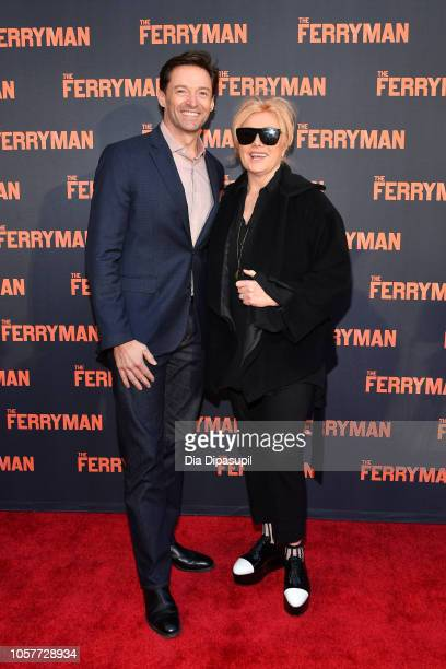 Hugh Jackman and wife Deborralee Furness attend 'The Ferryman' Broadway opening night at The Bernard B Jacobs Theatre on October 21 2018 in New York...