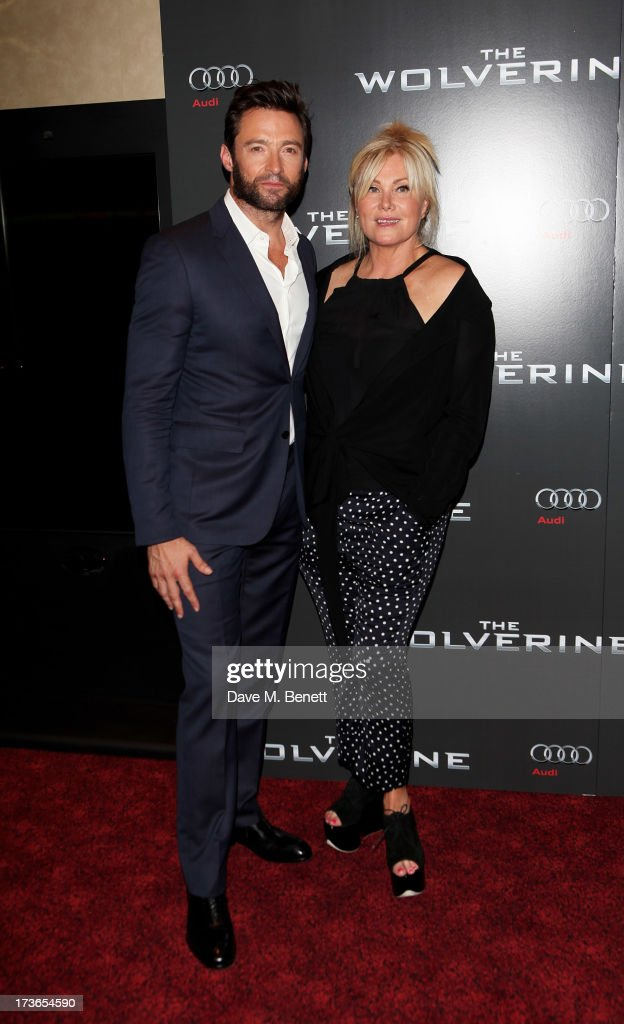 Hugh Jackman (L) and wife Deborra-Lee Furness attend the UK Premiere of 'The Wolverine' at Empire Leicester Square on July 16, 2013 in London, England.