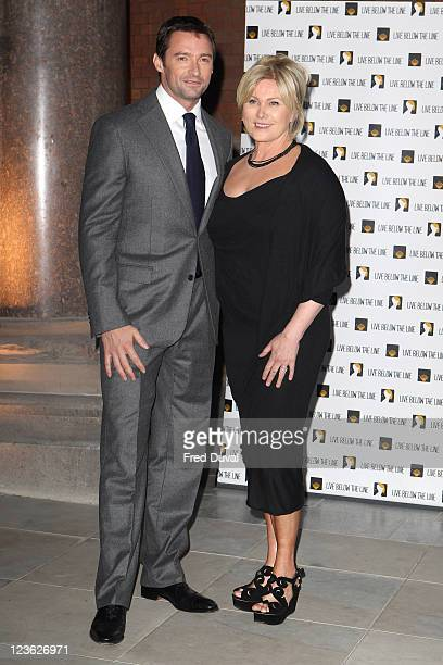 Hugh Jackman and wife Deborra-Lee Furness host the 'Live Below the Line' campaign launch at Marriott St Pancras Renaissance on April 18, 2011 in...