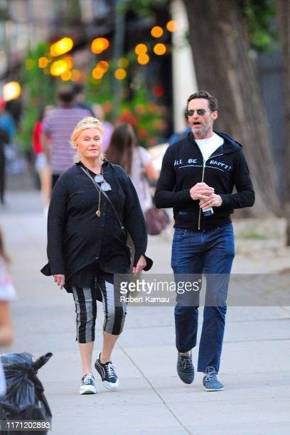 Hugh Jackman and wife Deborra-Lee Furness seen out and about in Manhattan on September 25, 2019 in New York City.