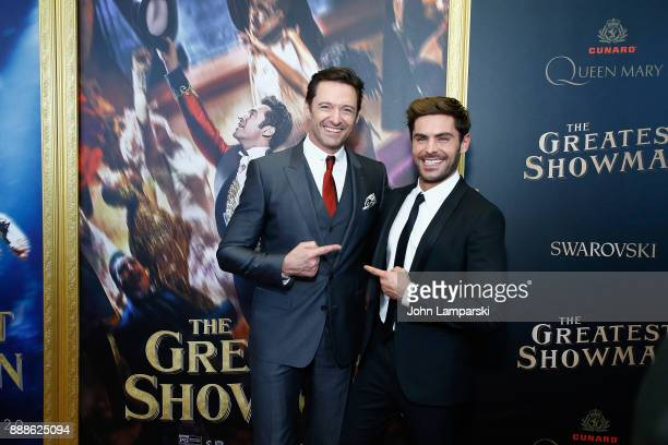 Hugh Jackman and Zac Efron attend 'The Greatest Showman' World Premiere aboard the Queen Mary 2 at the Brooklyn Cruise Terminal on December 8 2017 in...