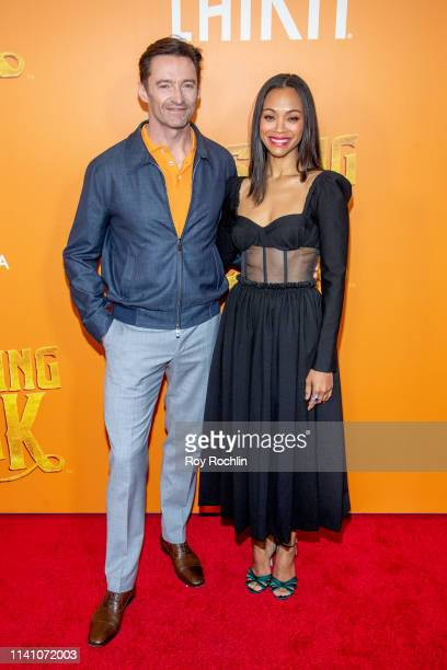 """Hugh Jackman and Zoe Saldana attend the """"Missing Link"""" New York Premiere at Regal Cinema Battery Park on April 07, 2019 in New York City."""