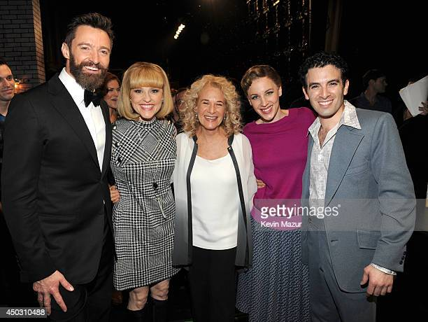 Hugh Jackman Anika Larsen Carole King Jessie Mueller and Jarrod Spector attend the 68th Annual Tony Awards at Radio City Music Hall on June 8 2014 in...
