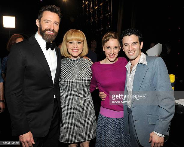 Hugh Jackman Anika Larsen Jessie Mueller and Jarrod Spector attend the 68th Annual Tony Awards at Radio City Music Hall on June 8 2014 in New York...