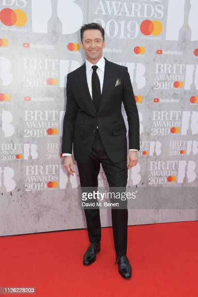 Hugh Jackman arrives at The BRIT Awards 2019 held at The O2 Arena on February 20, 2019 in London, England.