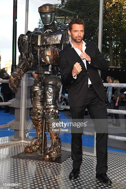 Hugh Jackman arrives at the UK premiere of Real Steel at Empire Leicester Square on September 14, 2011 in London, England.