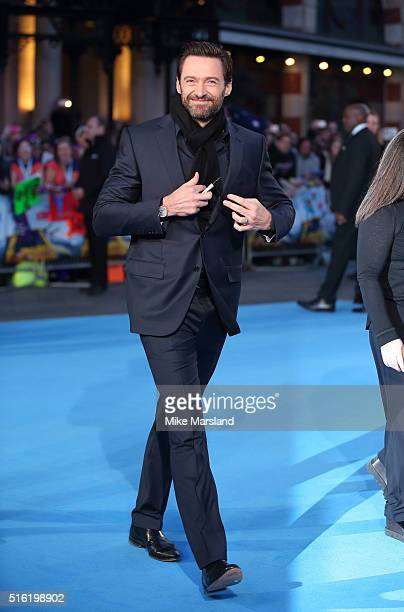Hugh Jackman arrives for the European premiere of 'Eddie The Eagle' at Odeon Leicester Square on March 17 2016 in London England