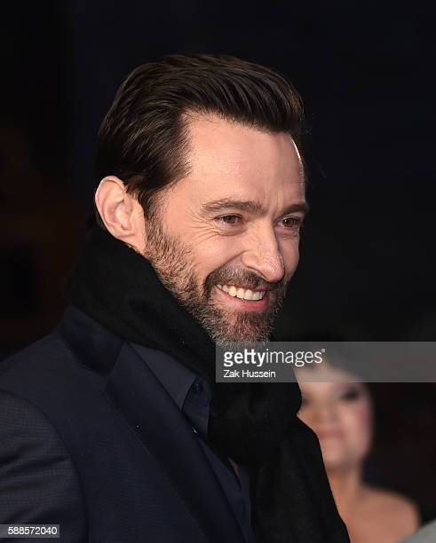 Hugh Jackman arriving at the European premiere of Eddie the Eagle at the Odeon Leicester Square in London