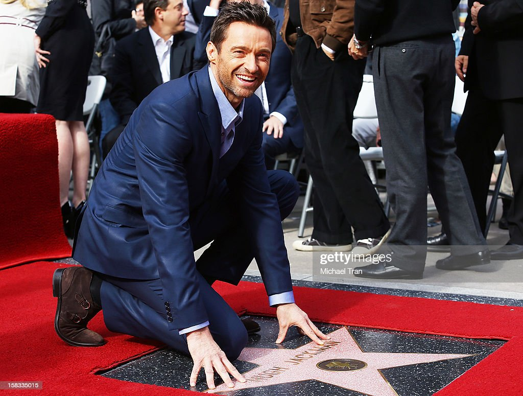 Hugh Jackman attends the ceremony honoring him with a Star on The Hollywood Walk of Fame held on December 13, 2012 in Hollywood, California.