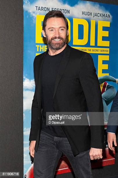 Hugh Jackman attends the 'Eddie The Eagle' New York screening at Chelsea Bow Tie Cinemas on February 23 2016 in New York City