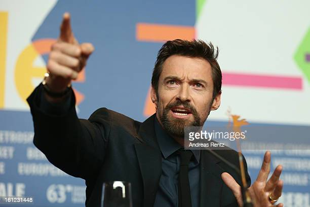 Hugh Jackman attends the 'Les Miserables' press conference during the 63rd Berlinale International Film Festival at Grand Hyatt Hotel on February 9...