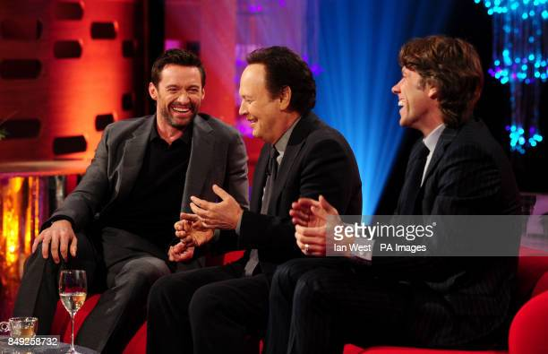 Hugh Jackman Billy Crystal and JOhn Bishop during filming of the New Year's Eve edition of the Graham Norton show filmed at the London Studios London