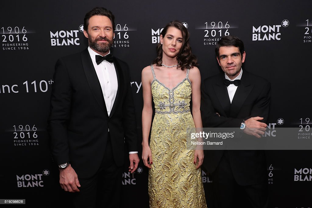 Hugh Jackman, Charlotte Casiraghi, and Montblanc CEO Jérôme Lambert attend the Montblanc 110 Year Anniversary Gala Dinner on April 5, 2016 in New York City.