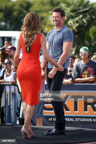 Hugh Jackman chats with Maria Menounos while making an appearance on 'Extra' on September 12 2013 in Los Angeles California