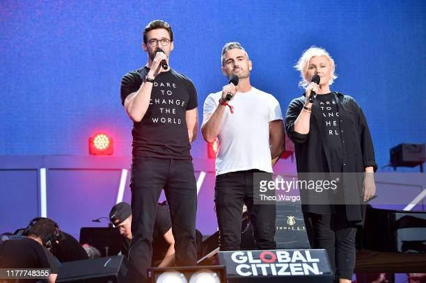 Hugh Jackman Clay Dunn and Deborralee Furness speak onstage during the 2019 Global Citizen Festival Power The Movement in Central Park on September...