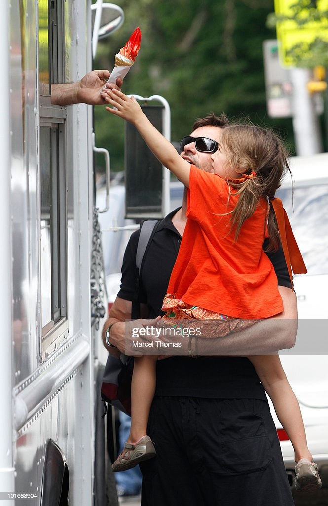 Hugh Jackman daughter Ava Eliot Jackman are seen buying ice cream in the west village on June 4, 2010 in New York, New York.
