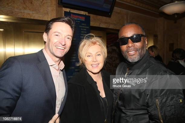 Hugh Jackman Deborra Lee Furness and Lee Daniels pose at the opening night of the new play 'The Ferryman' on Broadway at The Bernard B Jacobs Theatre...