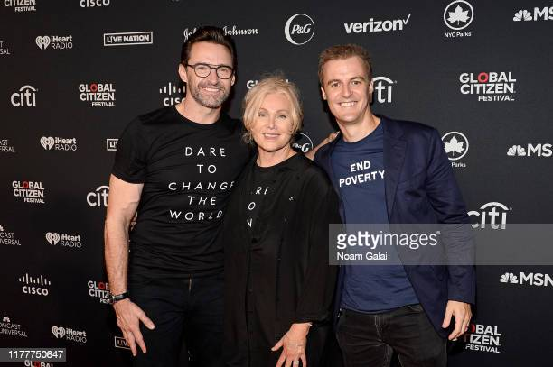 Hugh Jackman Deborralee Furness and Global Citizen CEO Hugh Evans attend the 2019 Global Citizen Festival Power The Movement in Central Park on...