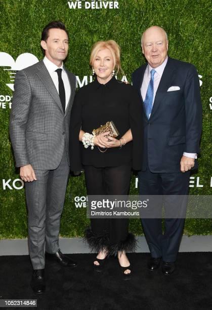 Hugh Jackman Deborralee Furness and Jamie Niven attend God's Love We Deliver Golden Heart Awards at Spring Studios on October 16 2018 in New York City