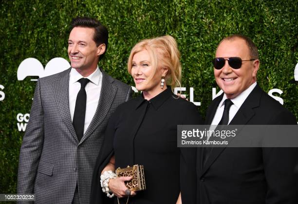 Hugh Jackman Deborralee Furness and Michael Korsl attend God's Love We Deliver Golden Heart Awards at Spring Studios on October 16 2018 in New York...