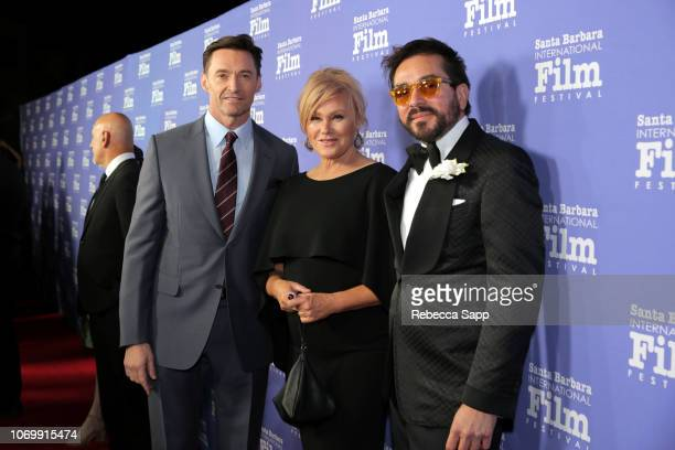 Hugh Jackman Deborralee Furness and SBIFF Executive Director Roger Durling attend Santa Barbara International Film Festival's Kirk Douglas Award...