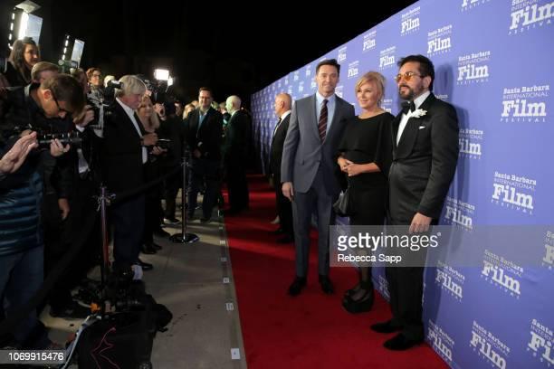 Hugh Jackman Deborralee Furness and SBIFF Executive Director Roger Durling attend Santa Barbara International Film Festival's Kirk Douglas Award...