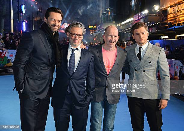 Hugh Jackman Dexter Fletcher Eddie Edwards and Taron Egerton attend the European Premiere of Eddie The Eagle at Odeon Leicester Square on March 17...