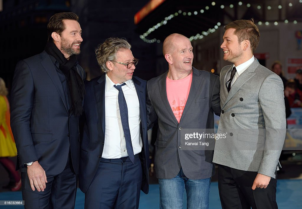 Hugh Jackman, Dexter Fletcher, Eddie 'The Eagle' Edwards and Taron Egerton arrive for the European premiere of 'Eddie The Eagle' at Odeon Leicester Square on March 17, 2016 in London, England.