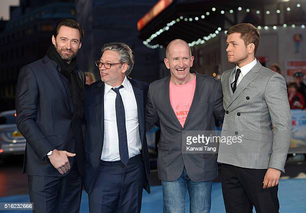 Hugh Jackman Dexter Fletcher Eddie 'The Eagle' Edwards and Taron Egerton arrive for the European premiere of 'Eddie The Eagle' at Odeon Leicester...