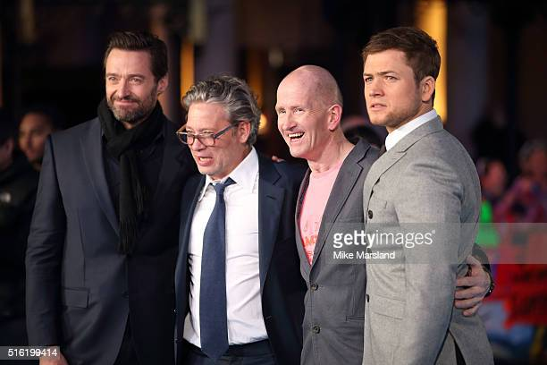Hugh Jackman Director Dexter Fletcher Eddie The Eagle Edwards and Taron Egerton arrive for the European premiere of 'Eddie The Eagle' at Odeon...