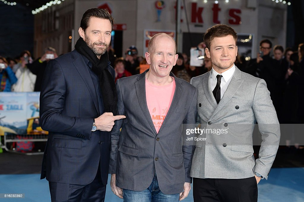 Hugh Jackman, Eddie Edwards and Taron Egerton arrive for the European premiere of 'Eddie The Eagle' at Odeon Leicester Square on March 17, 2016 in London, England.