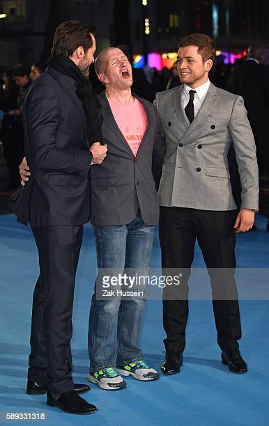 Hugh Jackman Eddie Edwards and Taron Egerton arriving at the European premiere of Eddie the Eagle at the Odeon Leicester Square in London