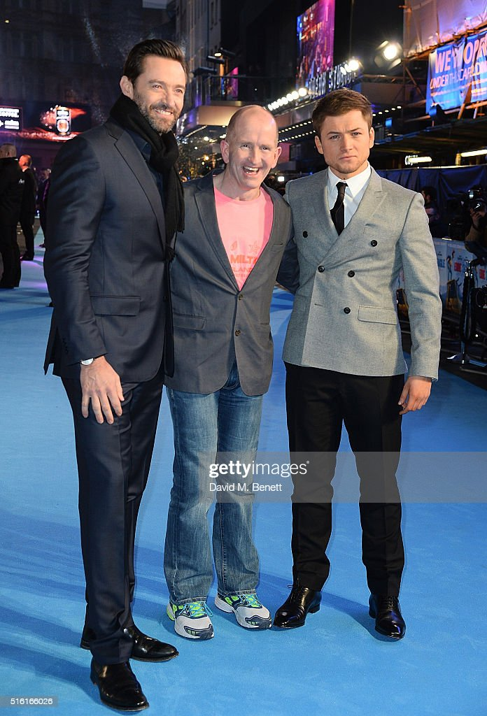 Hugh Jackman, Eddie Edwards and Taron Egerton attend the European Premiere of 'Eddie The Eagle' at Odeon Leicester Square on March 17, 2016 in London, England.