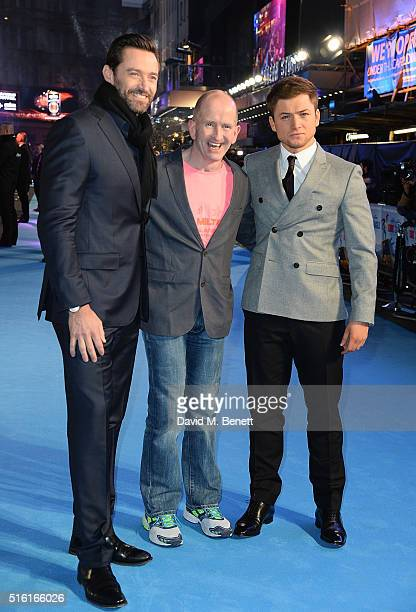 Hugh Jackman Eddie Edwards and Taron Egerton attend the European Premiere of 'Eddie The Eagle' at Odeon Leicester Square on March 17 2016 in London...