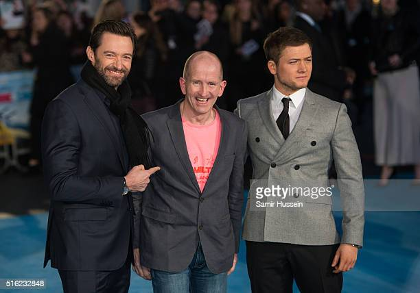 Hugh Jackman Eddie 'The Eagle' Edwards and Taron Egerton arrive for the European premiere of 'Eddie The Eagle' at Odeon Leicester Square on March 17...