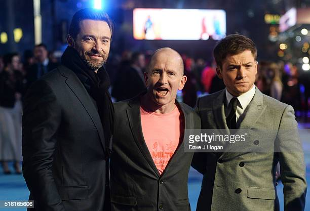 Hugh Jackman Eddie The Eagle Edwards and Taron Egerton attend the European premiere of 'Eddie The Eagle' at Odeon Leicester Square on March 17 2016...