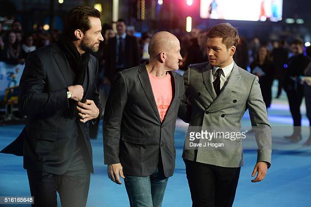 Hugh Jackman Eddie 'The Eagle' Edwards and Taron Egerton attend the European premiere of 'Eddie The Eagle' at Odeon Leicester Square on March 17 2016...