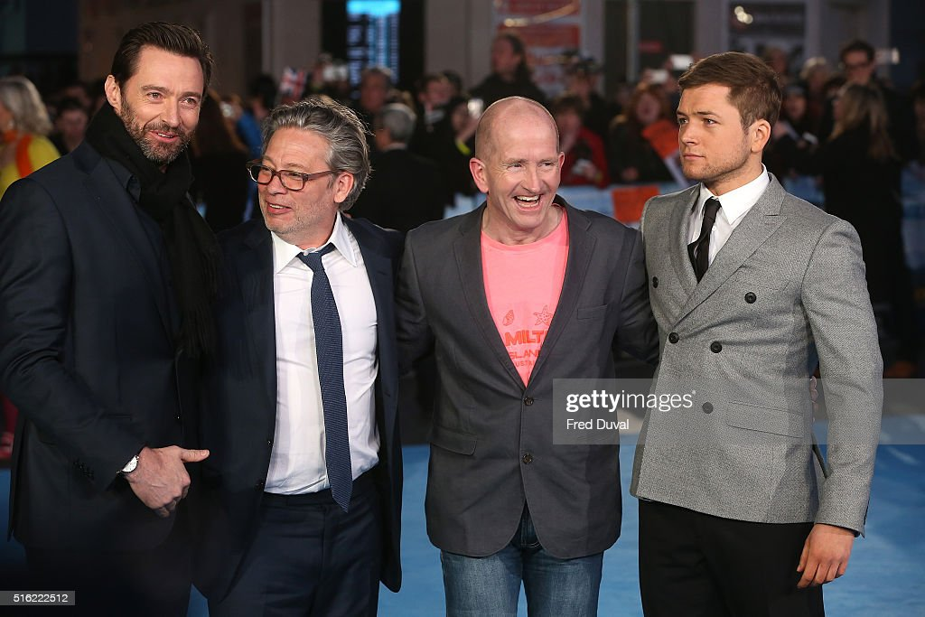 Hugh Jackman, Eddie 'The Eagle' Edwards, Dexter Fletcher and Taron Egerton attend the European Premiere of 'Eddie The Eagle' at Odeon Leicester Square on March 17, 2016 in London, England.