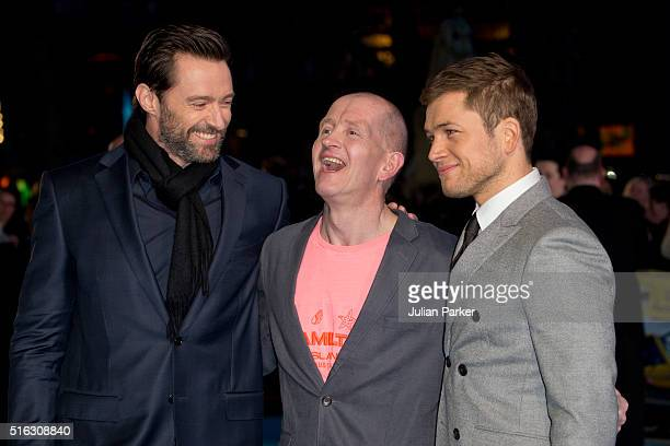 Hugh Jackman Eddie 'The Eagle' Edwardsand Taron Egerton arrive for the European premiere of 'Eddie The Eagle' at Odeon Leicester Square on March 17...