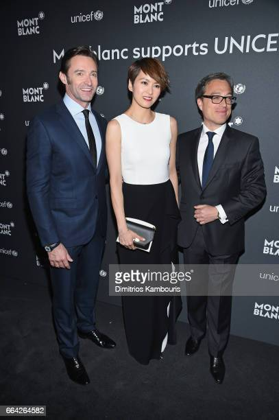 Hugh Jackman Gigi Leung and Montblanc CEO Nicolas Baretzki attend the Montblanc UNICEF Gala Dinner at the New York Public Library on April 3 2017 in...