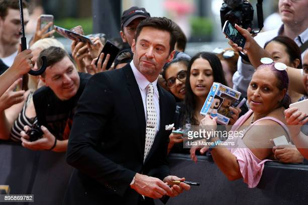 Hugh Jackman greets fans during the Australian premiere of The Greatest Showman at The Star on December 20 2017 in Sydney Australia