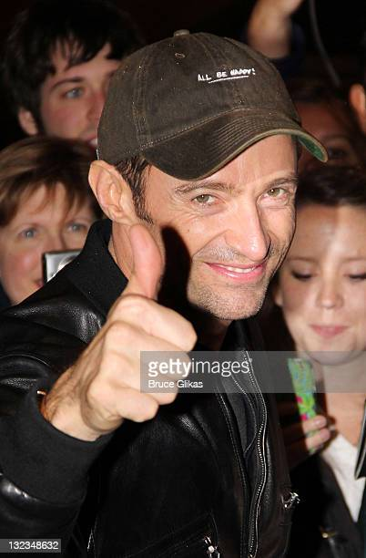 Hugh Jackman greets his fans after the Opening Night performance of 'Hugh Jackman Back On Broadway' at Broadhurst Theatre on November 10 2011 in New...