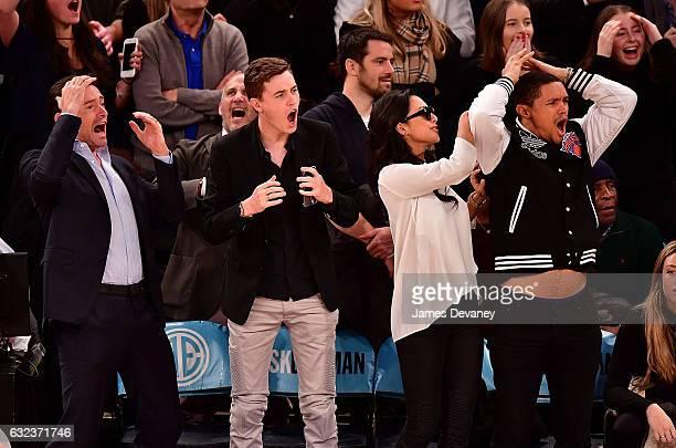 Hugh Jackman guest Jordyn Taylor and Trevor Noah attend Phoenix Suns Vs New York Knicks game at Madison Square Garden on January 21 2017 in New York...