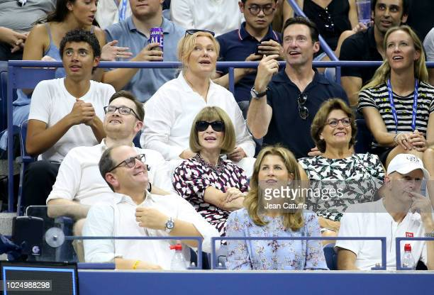 Hugh Jackman his wife Deborralee Furness and their son Oscar Jackman below Anna Wintour his son Charles Shaffer Lynette Federer mother of Roger...