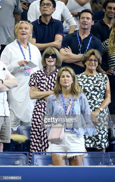 Hugh Jackman his wife Deborralee Furness below Anna Wintour Lynette Federer mother of Roger Federer below Mirka Federer Federer's wife attend Roger...