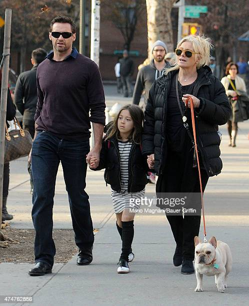 Hugh Jackman his wife DeborraLee Furness daughter Ava and dog Peaches are seen on December 03 2012 in New York City