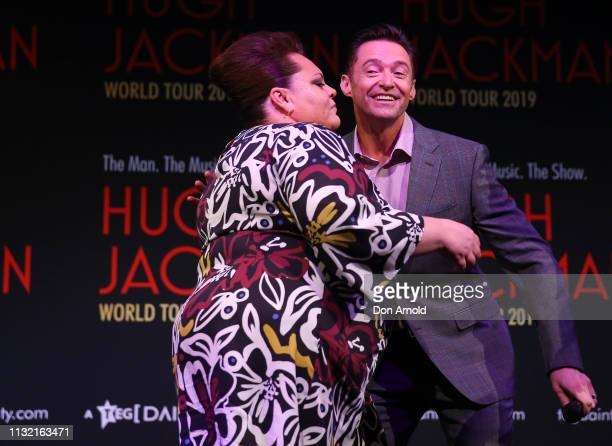 Hugh Jackman is greeted by Keala Settle during a media announcement at Museum of Contemporary Art on February 26 2019 in Sydney Australia